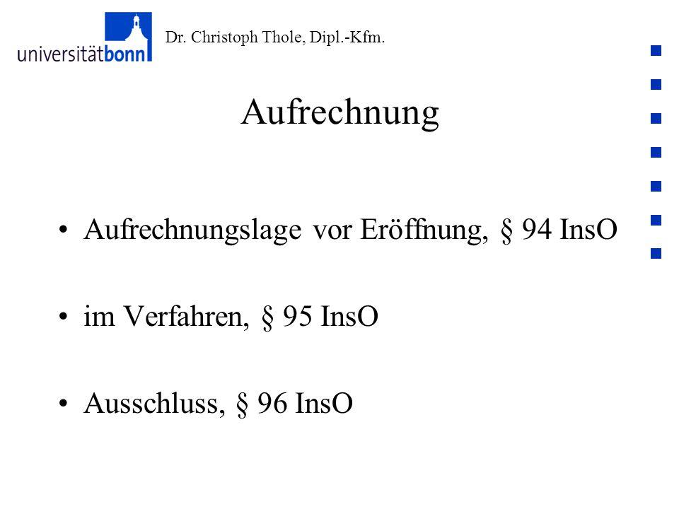 Aufrechnung Aufrechnungslage vor Eröffnung, § 94 InsO