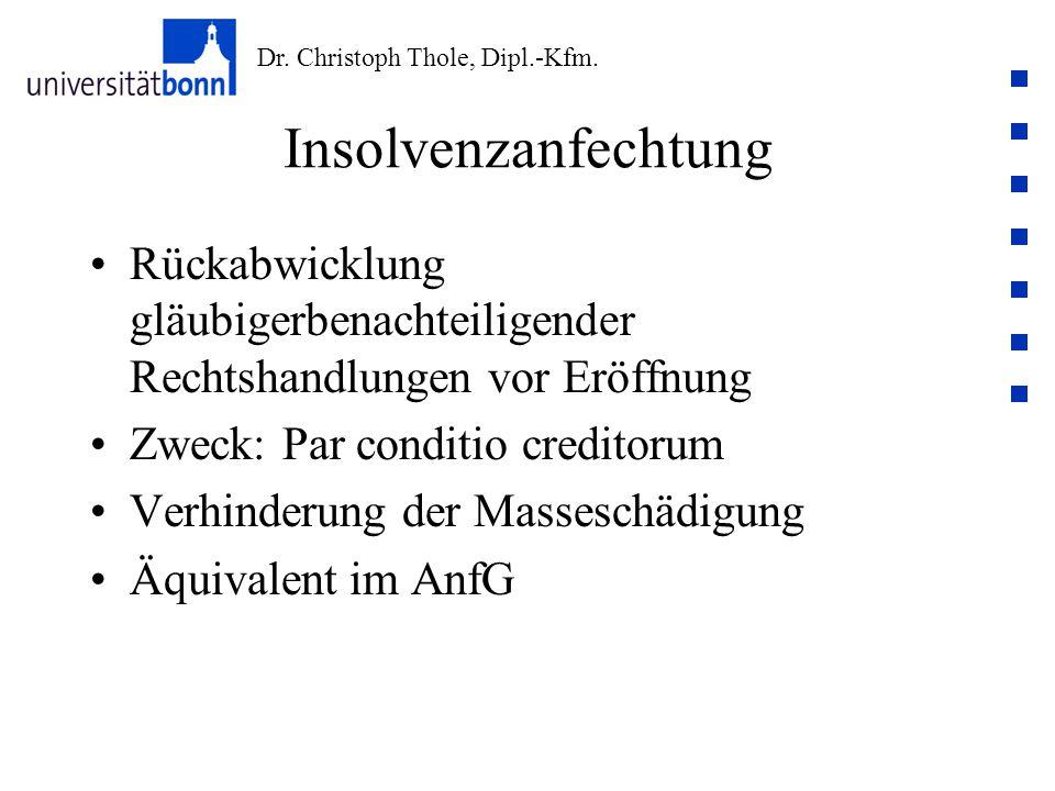 Insolvenzanfechtung Rückabwicklung gläubigerbenachteiligender Rechtshandlungen vor Eröffnung. Zweck: Par conditio creditorum.