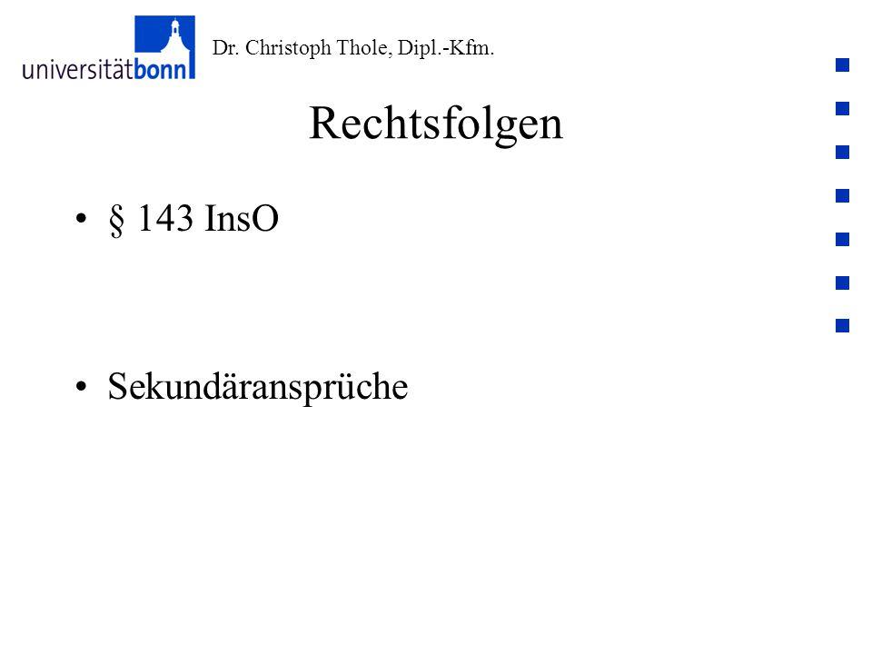 Rechtsfolgen § 143 InsO Sekundäransprüche