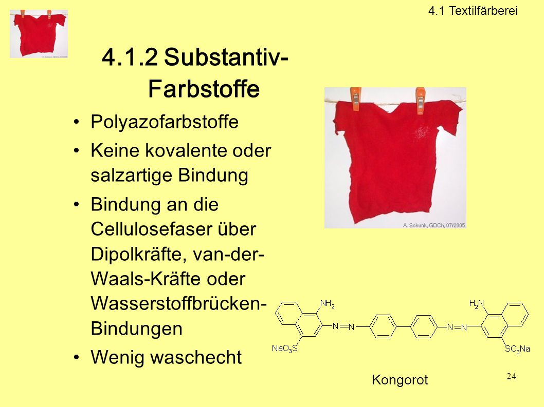 4.1.2 Substantiv- Farbstoffe