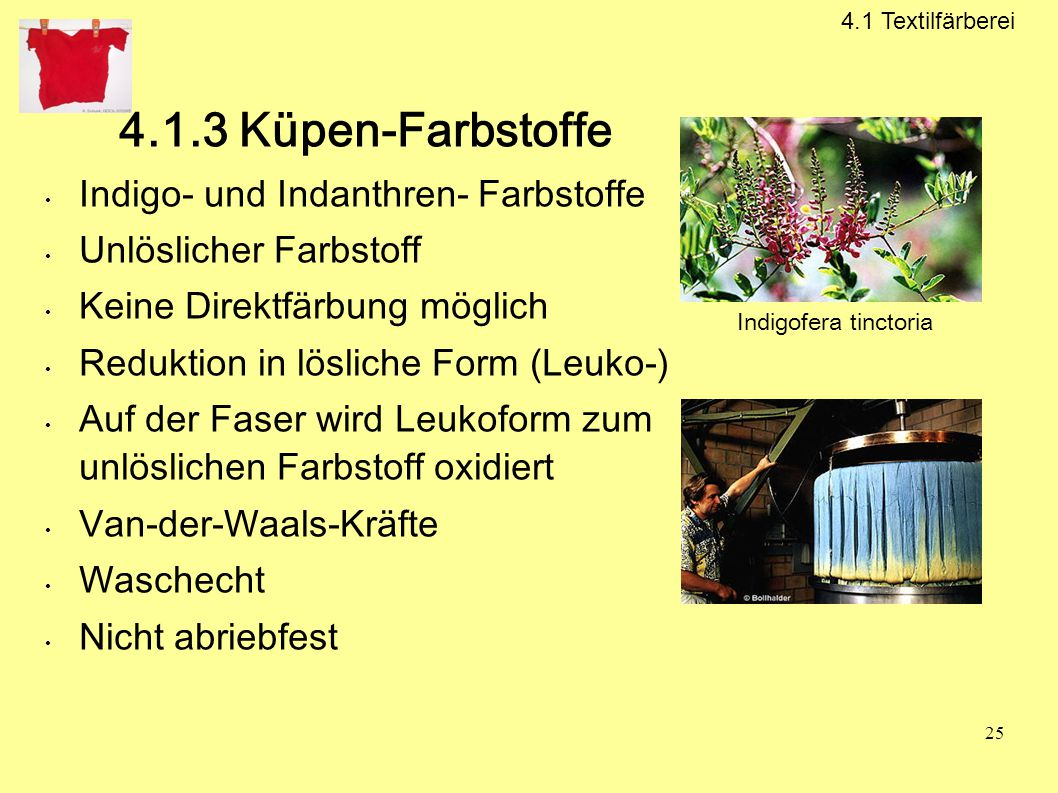 4.1.3 Küpen-Farbstoffe Indigo- und Indanthren- Farbstoffe