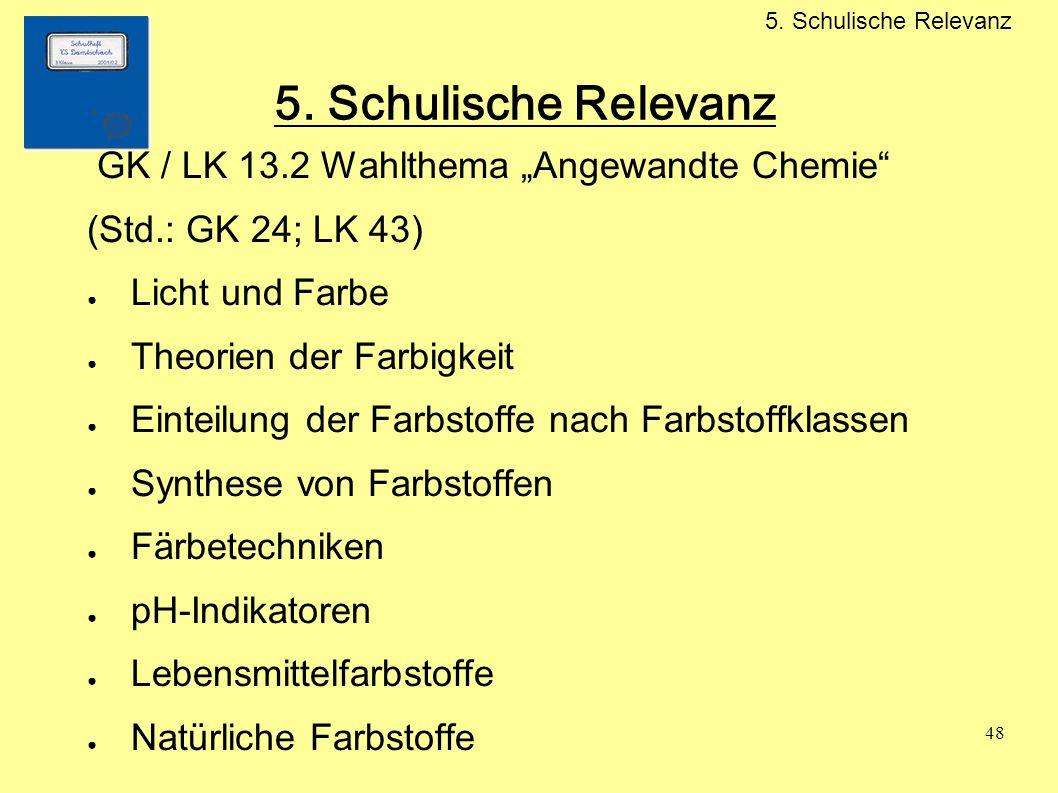 """5. Schulische Relevanz GK / LK 13.2 Wahlthema """"Angewandte Chemie"""