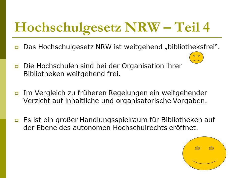 Hochschulgesetz NRW – Teil 4