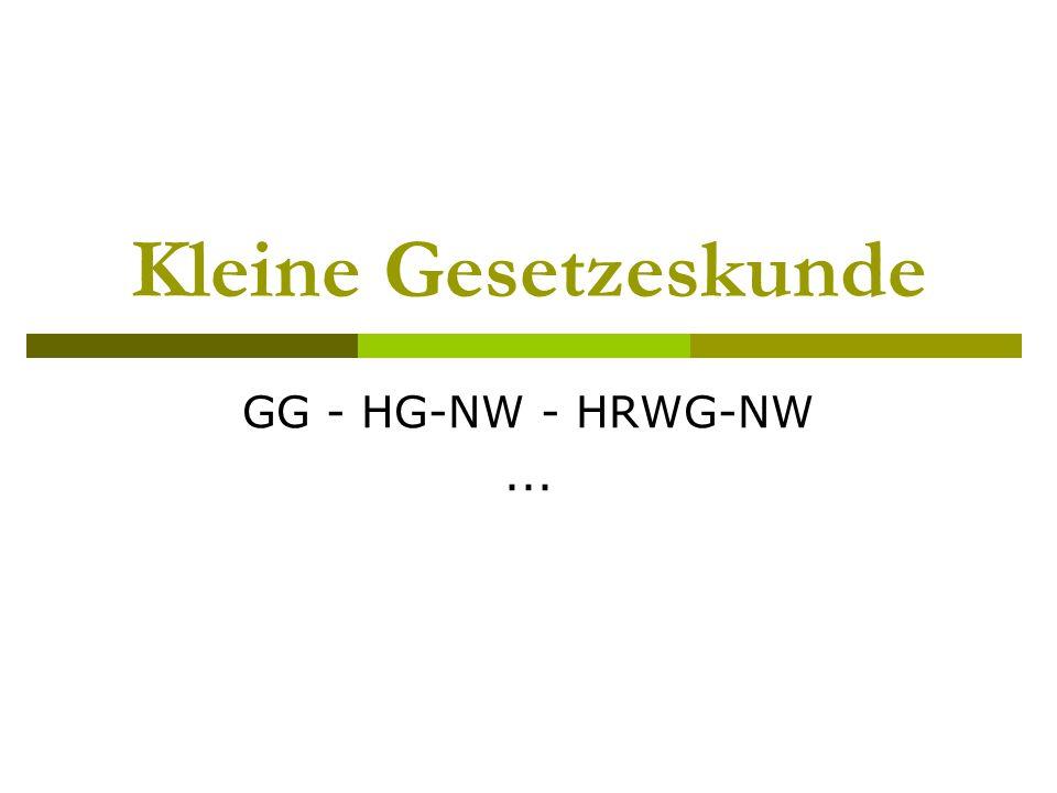 Kleine Gesetzeskunde GG - HG-NW - HRWG-NW ...