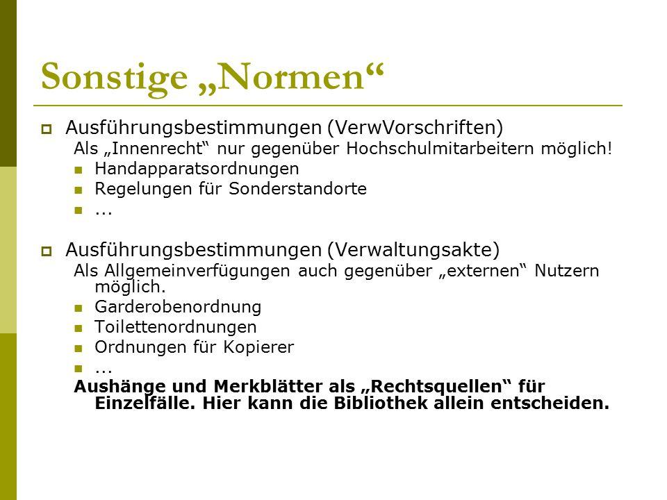 """Sonstige """"Normen Ausführungsbestimmungen (VerwVorschriften)"""