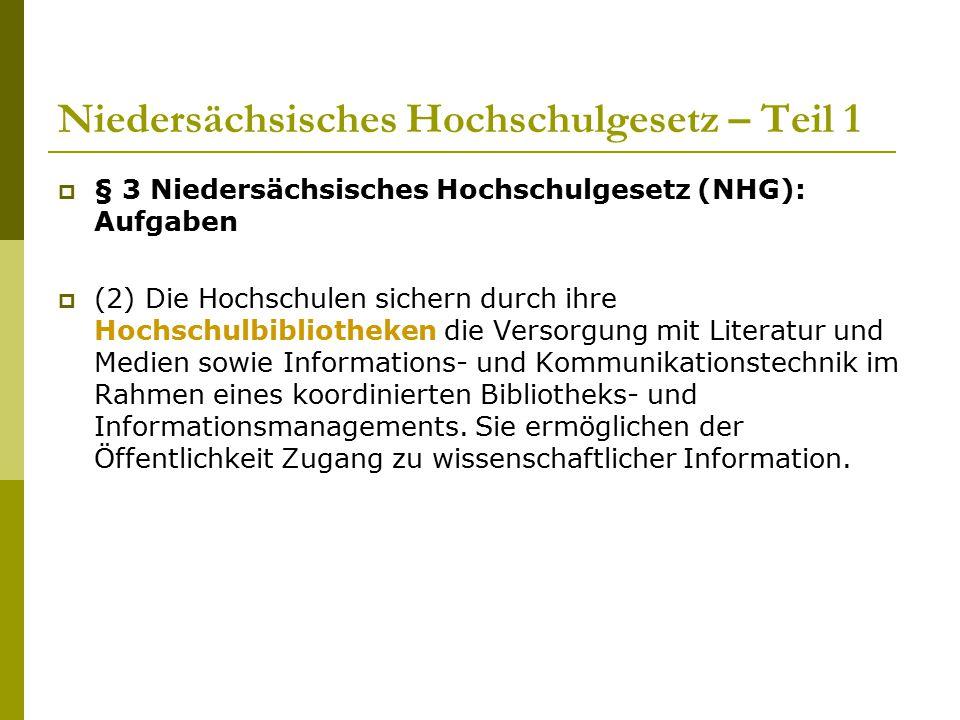 Niedersächsisches Hochschulgesetz – Teil 1