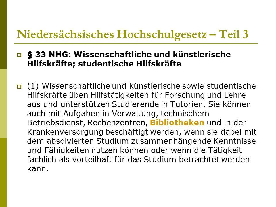 Niedersächsisches Hochschulgesetz – Teil 3