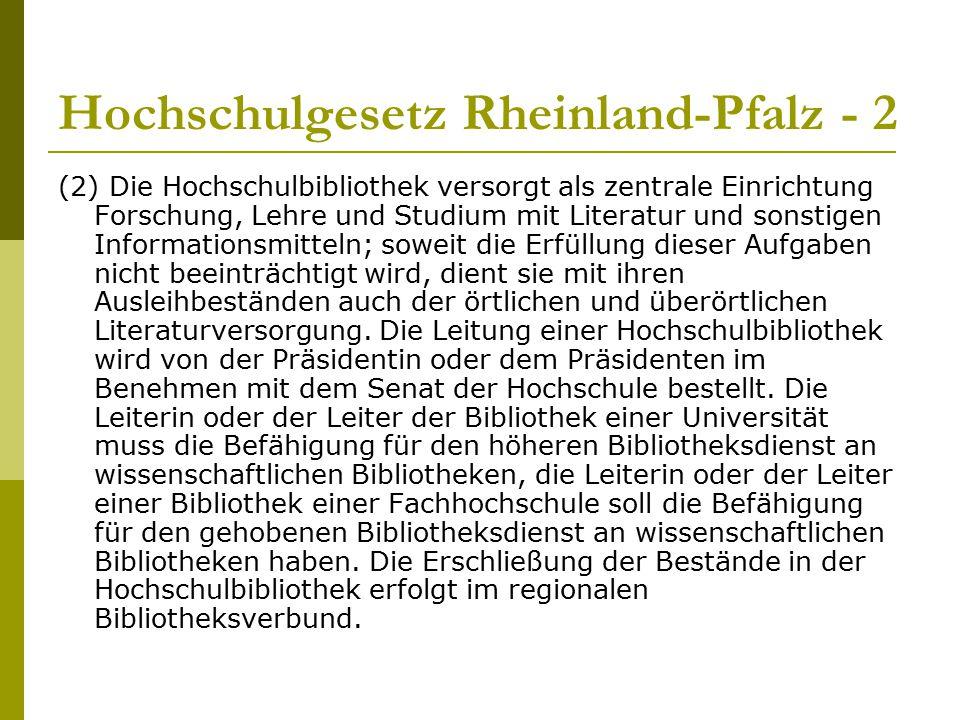 Hochschulgesetz Rheinland-Pfalz - 2