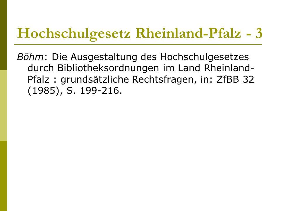 Hochschulgesetz Rheinland-Pfalz - 3