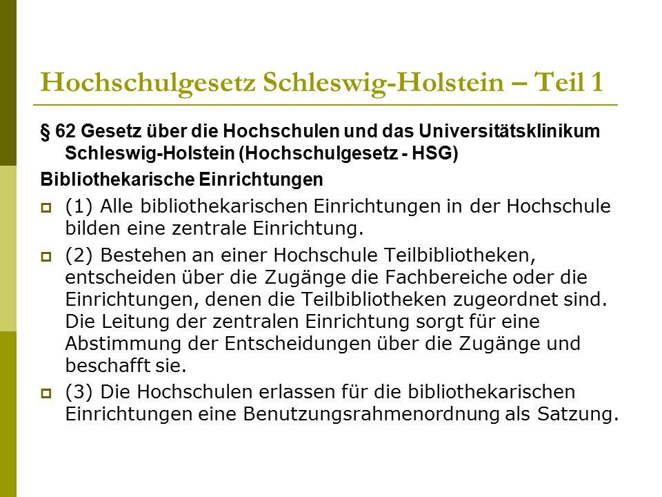 Hochschulgesetz Schleswig-Holstein – Teil 1