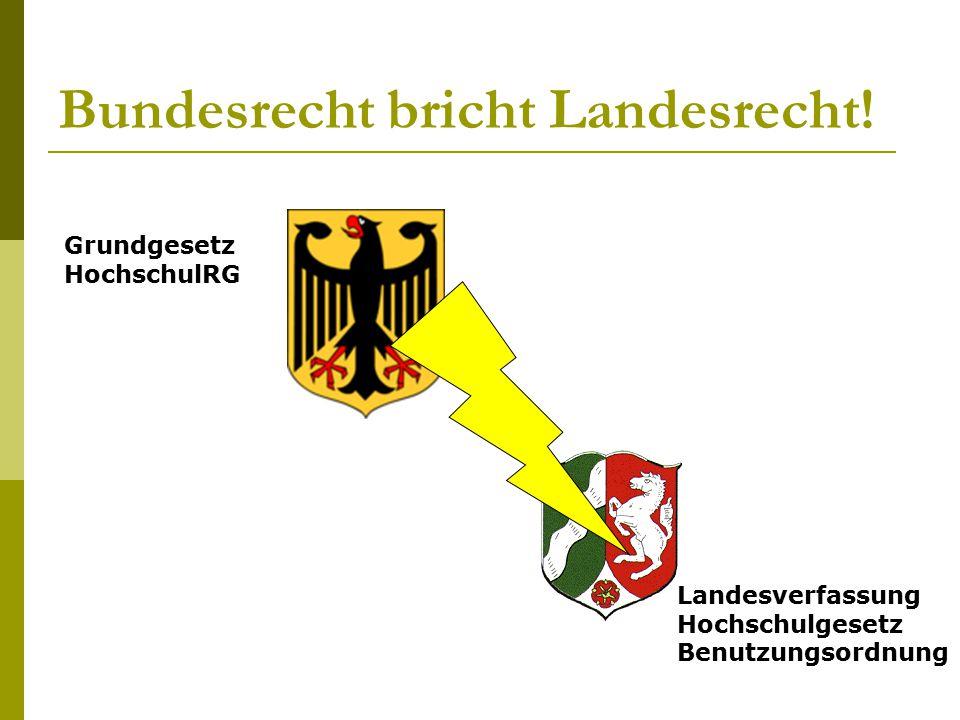 Bundesrecht bricht Landesrecht!