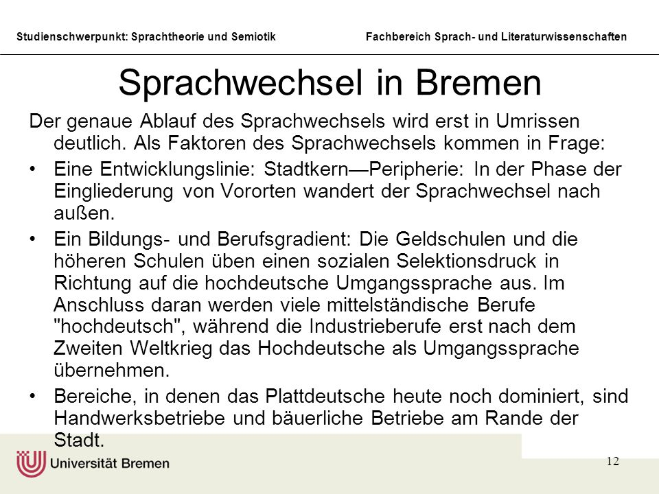 Sprachwechsel in Bremen