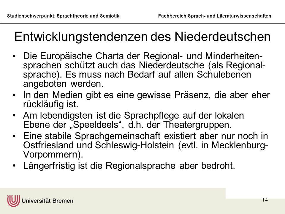 Entwicklungstendenzen des Niederdeutschen