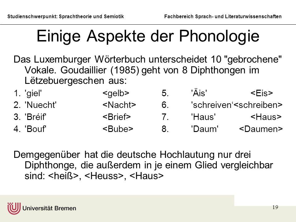 Einige Aspekte der Phonologie