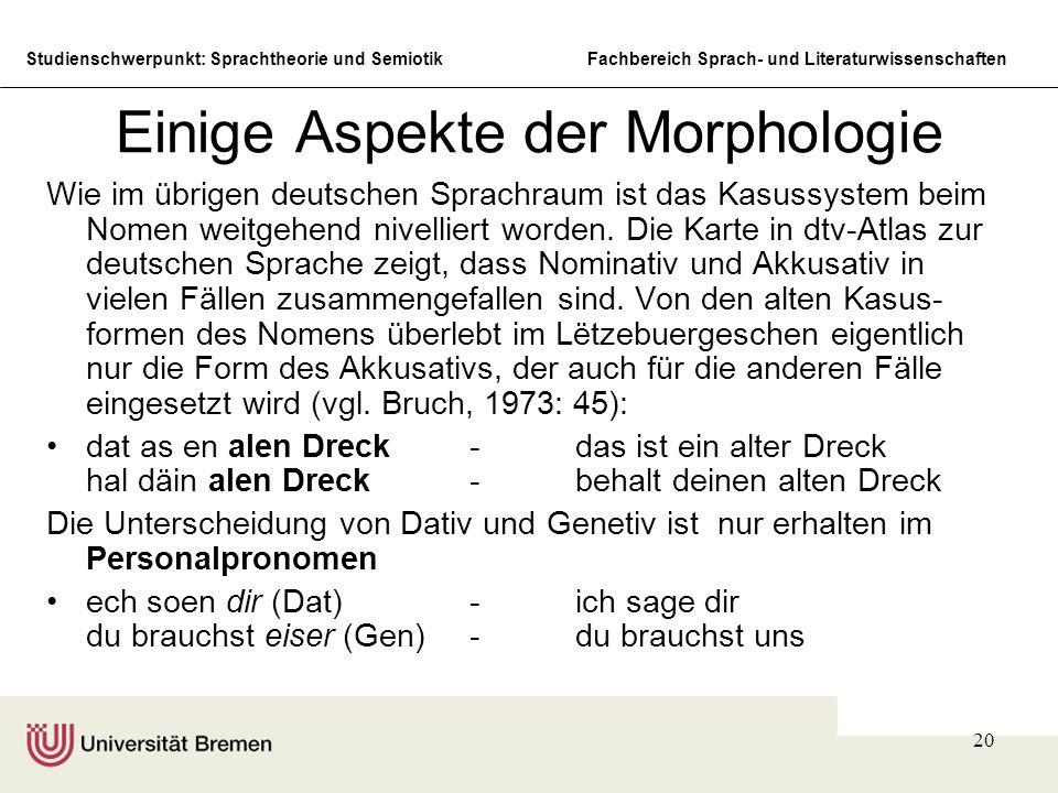 Einige Aspekte der Morphologie