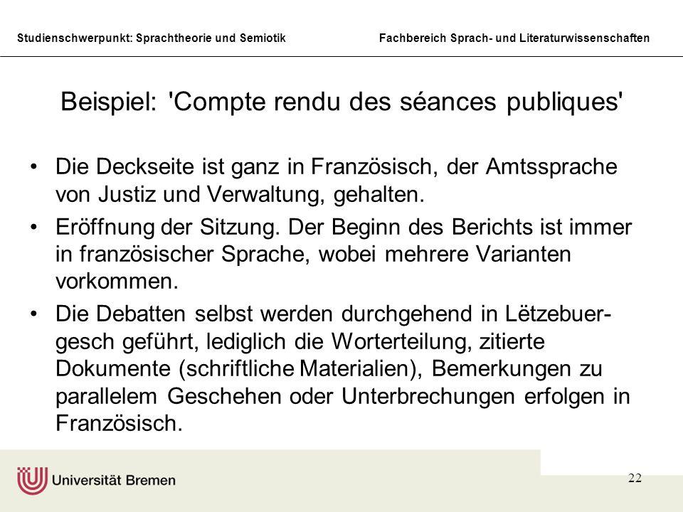 Beispiel: Compte rendu des séances publiques
