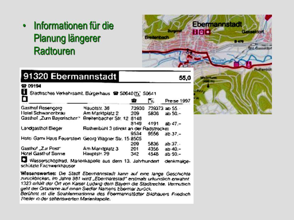 Informationen für die Planung längerer Radtouren