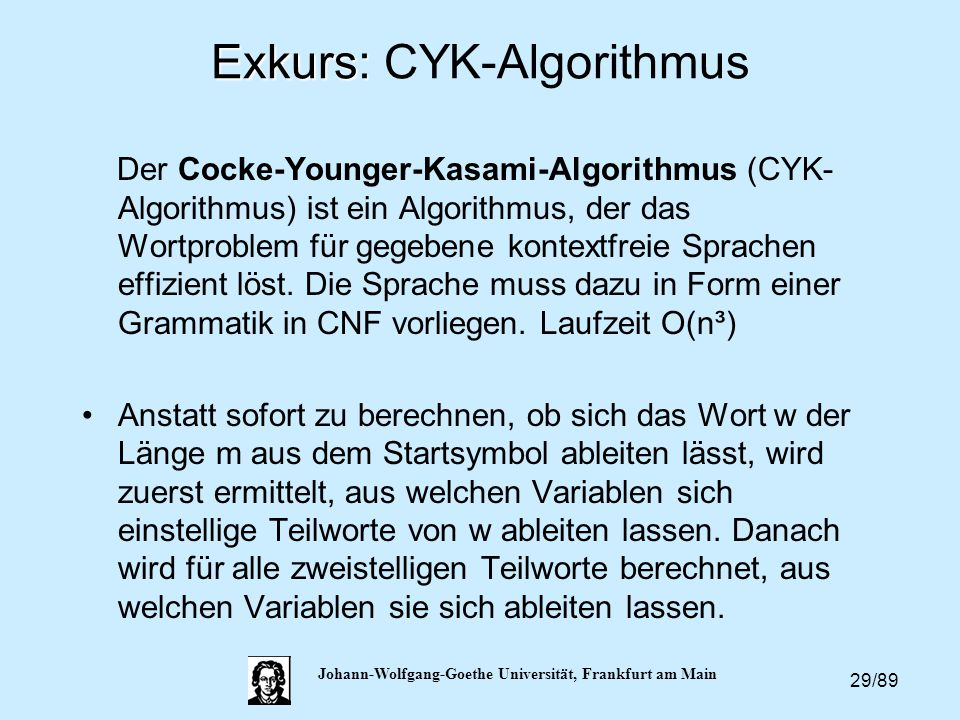 Exkurs: CYK-Algorithmus