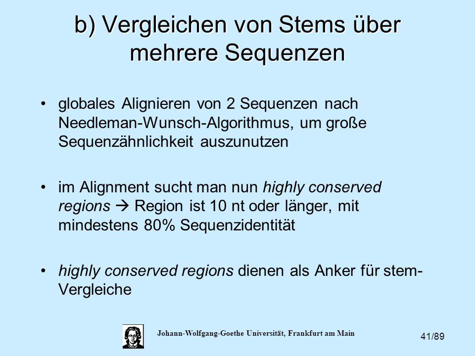 b) Vergleichen von Stems über mehrere Sequenzen