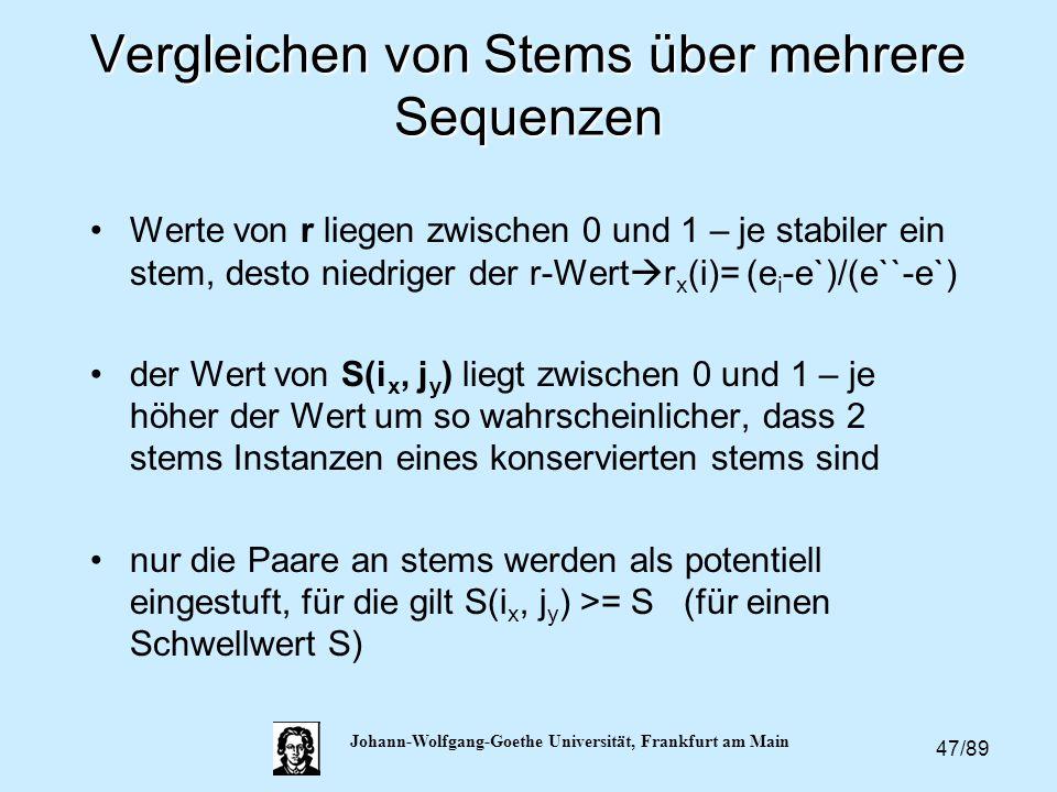 Vergleichen von Stems über mehrere Sequenzen