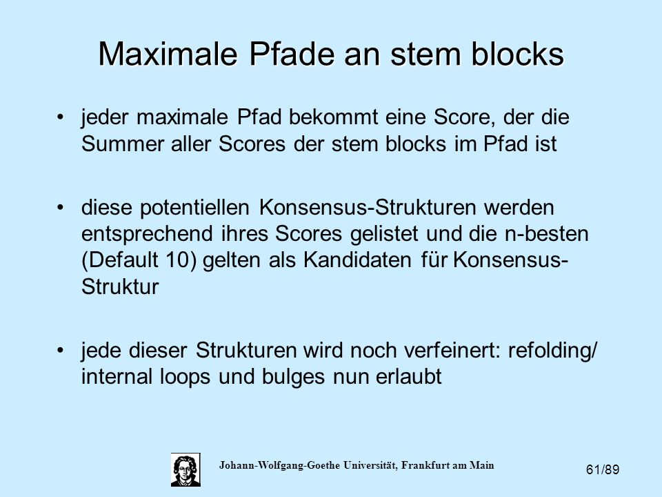 Maximale Pfade an stem blocks