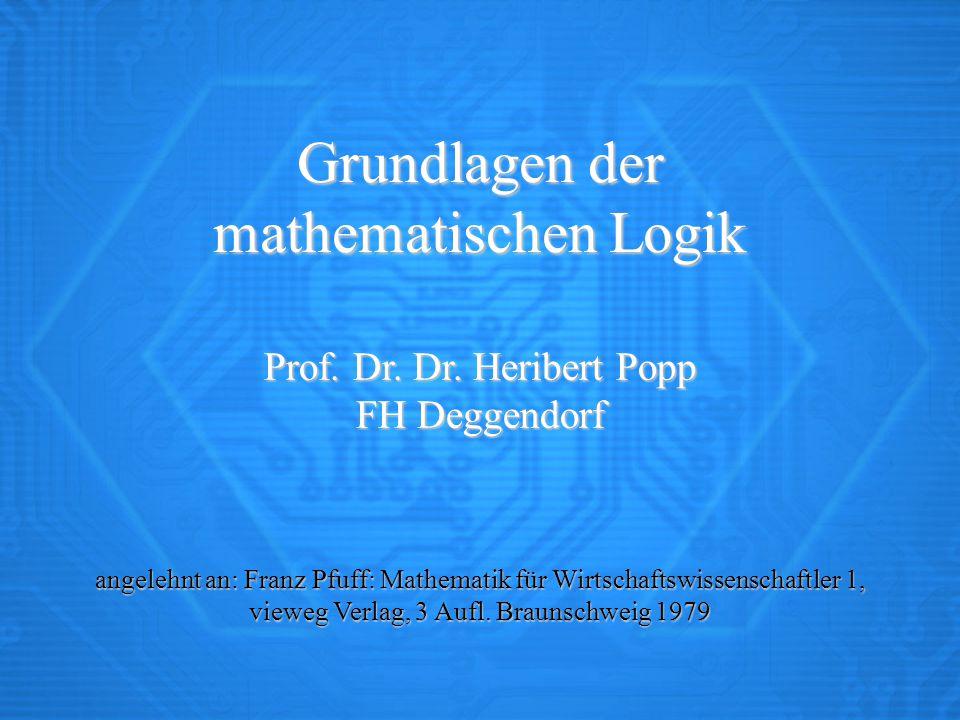 Grundlagen der mathematischen Logik
