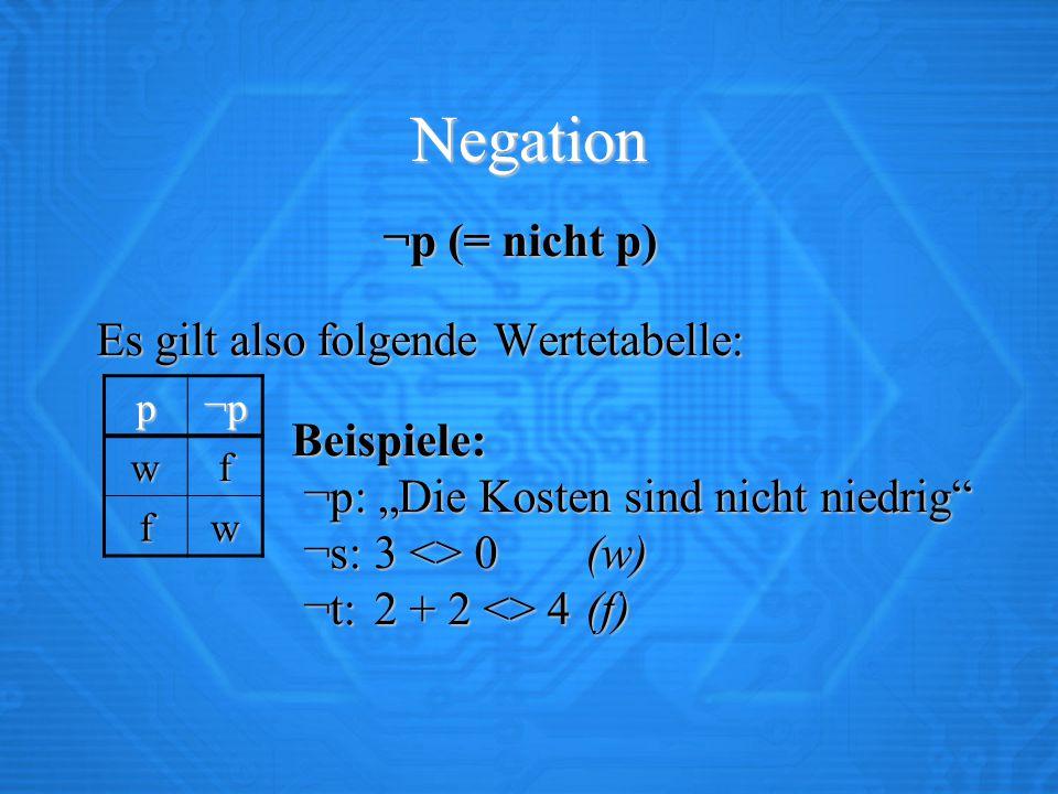 Negation ¬p (= nicht p) Es gilt also folgende Wertetabelle: