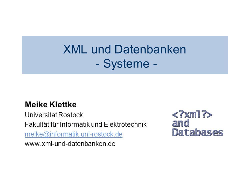XML und Datenbanken - Systeme -