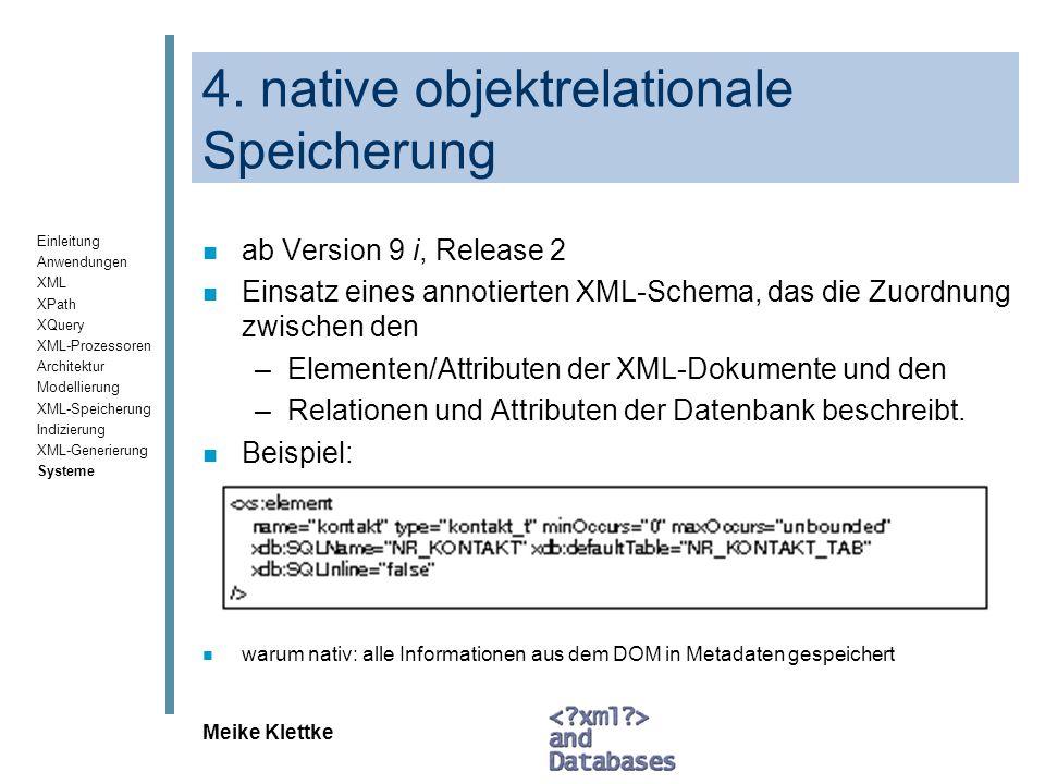 4. native objektrelationale Speicherung