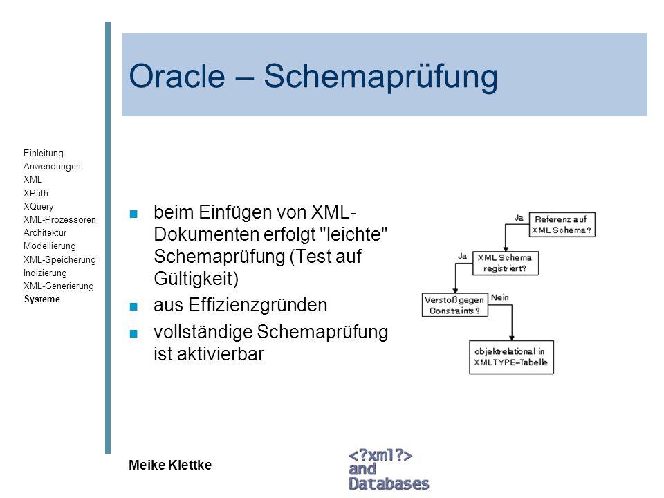 Oracle – Schemaprüfung