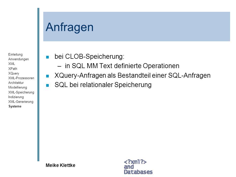 Anfragen bei CLOB-Speicherung: in SQL MM Text definierte Operationen