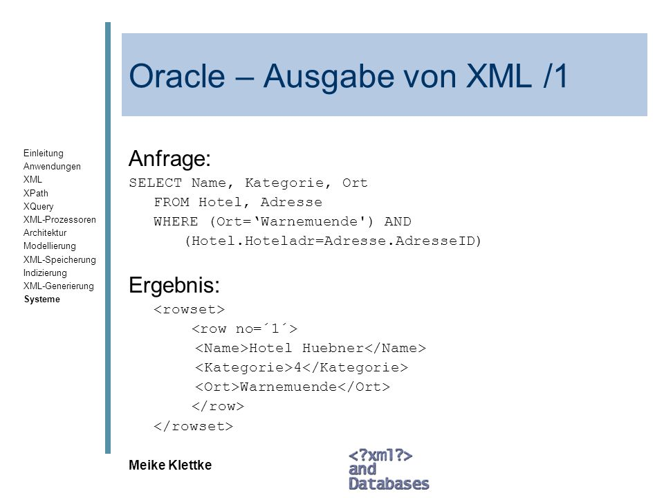 Oracle – Ausgabe von XML /1