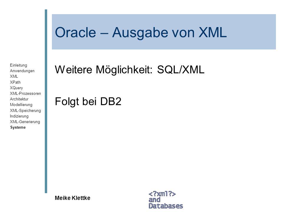 Oracle – Ausgabe von XML