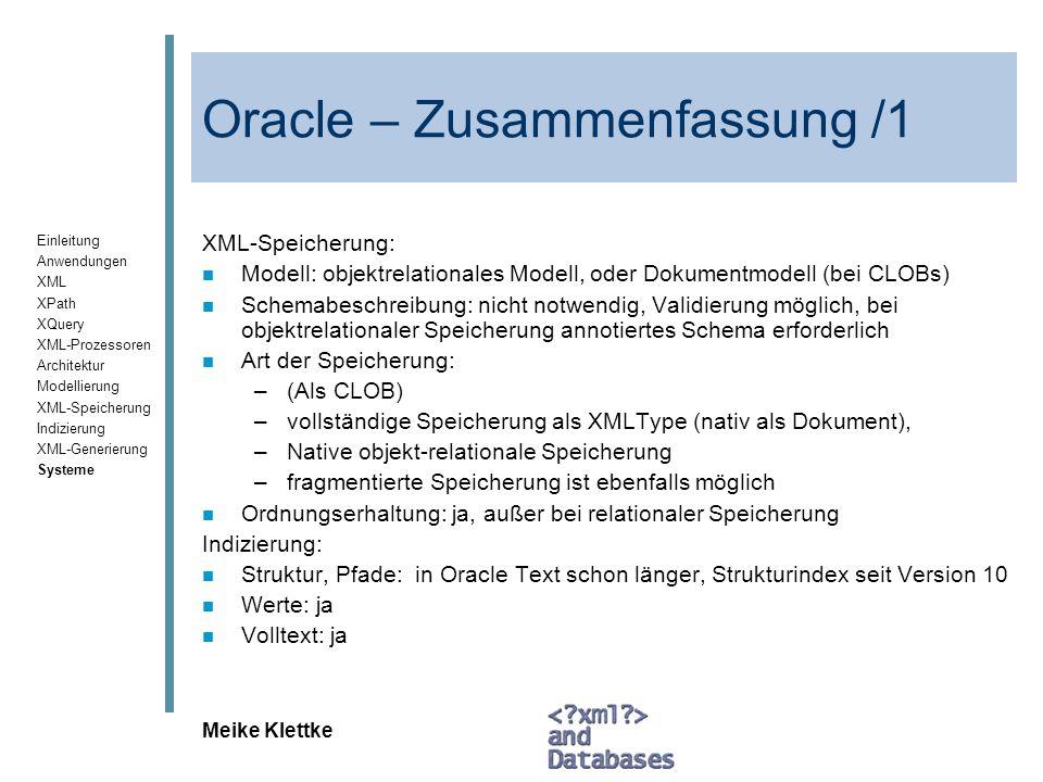 Oracle – Zusammenfassung /1