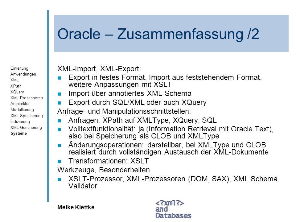 Oracle – Zusammenfassung /2