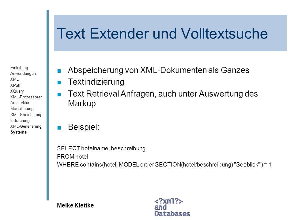 Text Extender und Volltextsuche