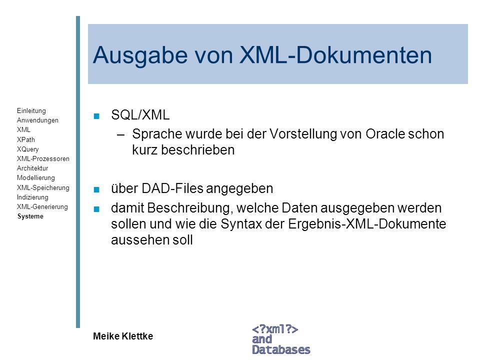Ausgabe von XML-Dokumenten