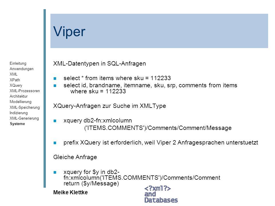 Viper XML-Datentypen in SQL-Anfragen