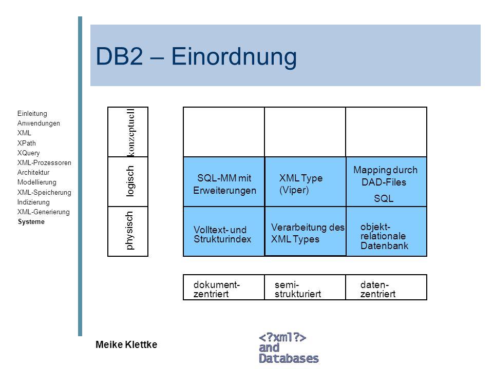 DB2 – Einordnung konzeptuell Mapping durch SQL-MM mit XML Type (Viper)