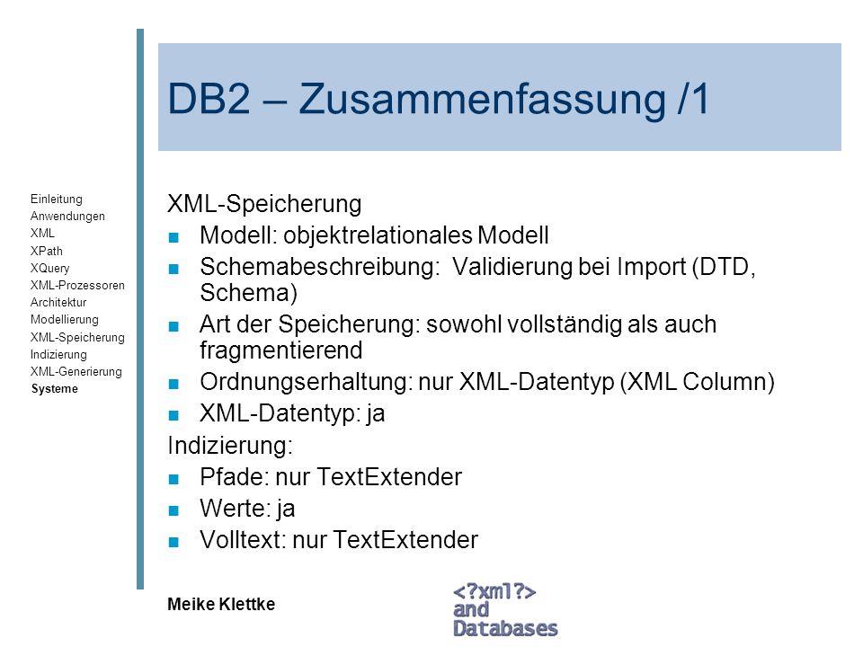 DB2 – Zusammenfassung /1 XML-Speicherung