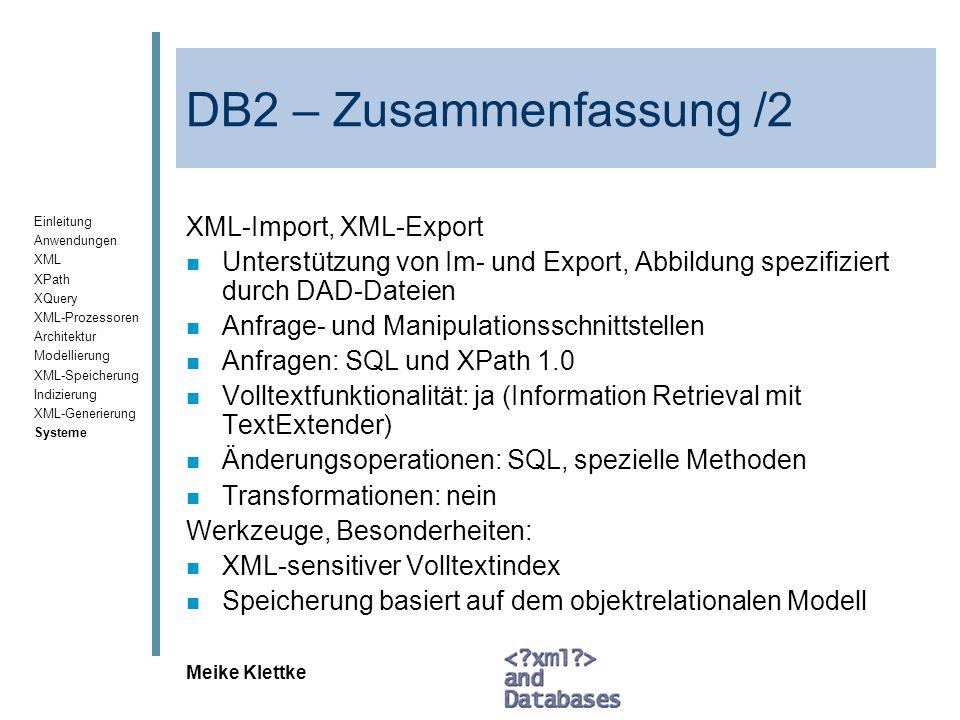 DB2 – Zusammenfassung /2 XML-Import, XML-Export