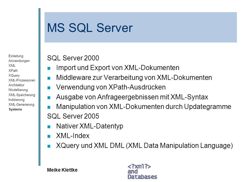MS SQL Server SQL Server 2000 Import und Export von XML-Dokumenten