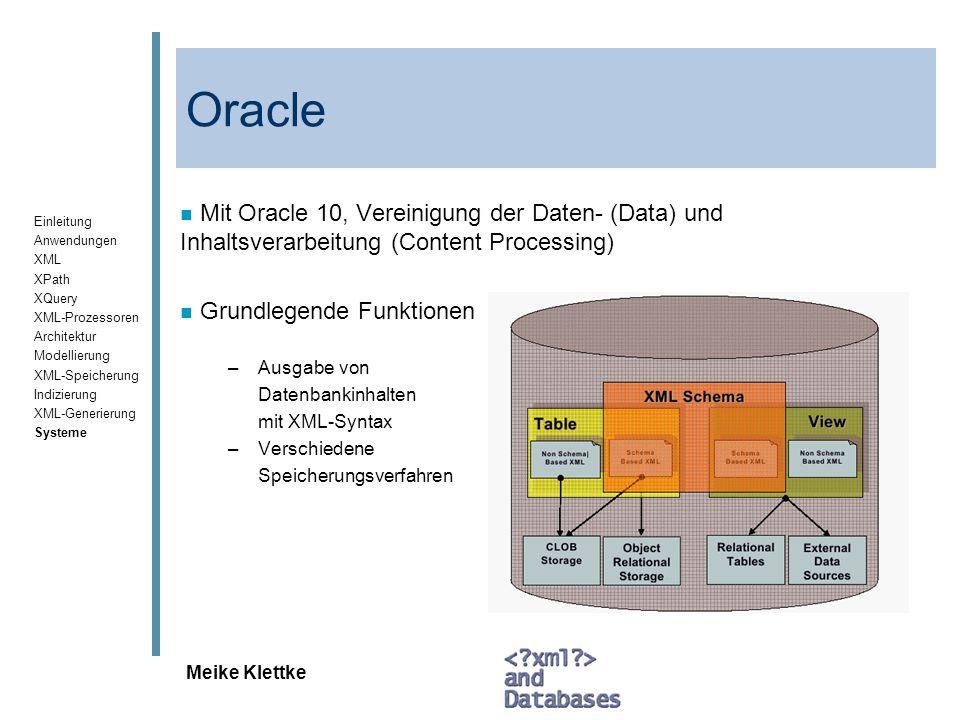 Oracle Mit Oracle 10, Vereinigung der Daten- (Data) und Inhaltsverarbeitung (Content Processing) Grundlegende Funktionen.