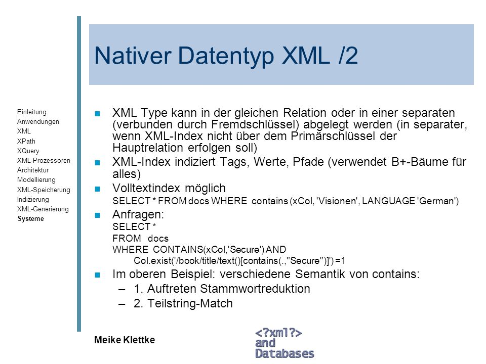 Nativer Datentyp XML /2