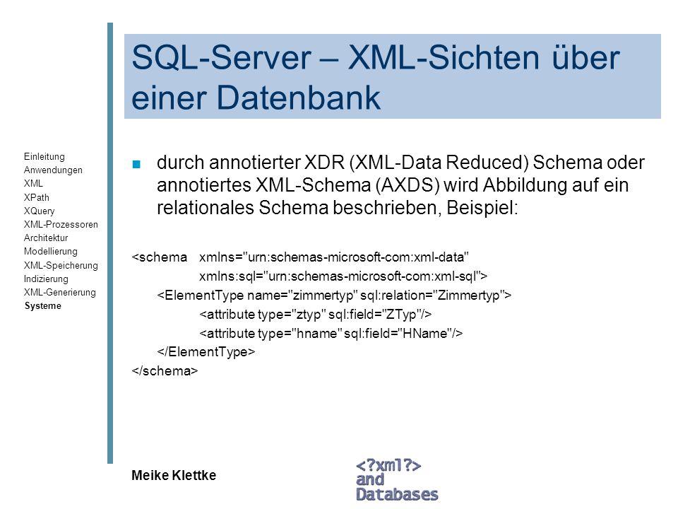 SQL-Server – XML-Sichten über einer Datenbank