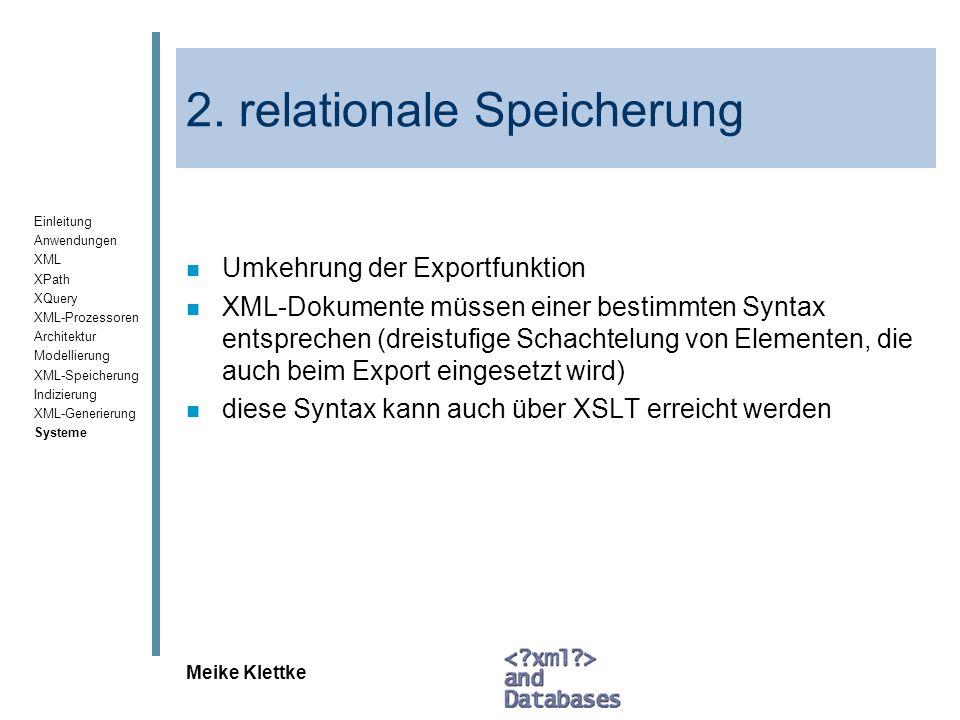2. relationale Speicherung