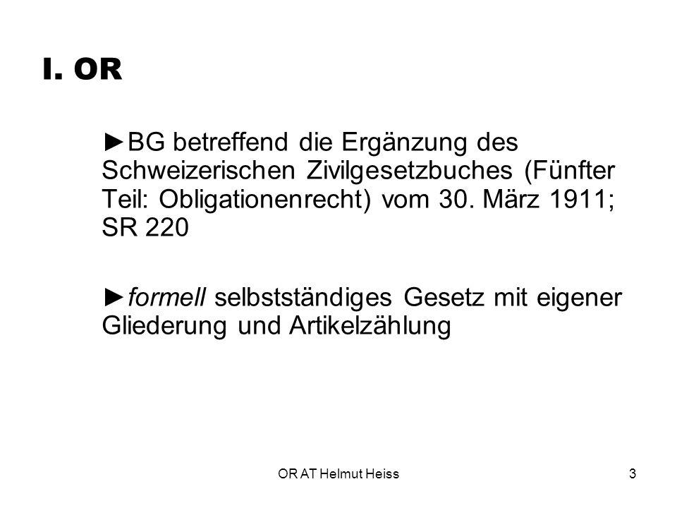 I. OR ►BG betreffend die Ergänzung des Schweizerischen Zivilgesetzbuches (Fünfter Teil: Obligationenrecht) vom 30. März 1911; SR 220.
