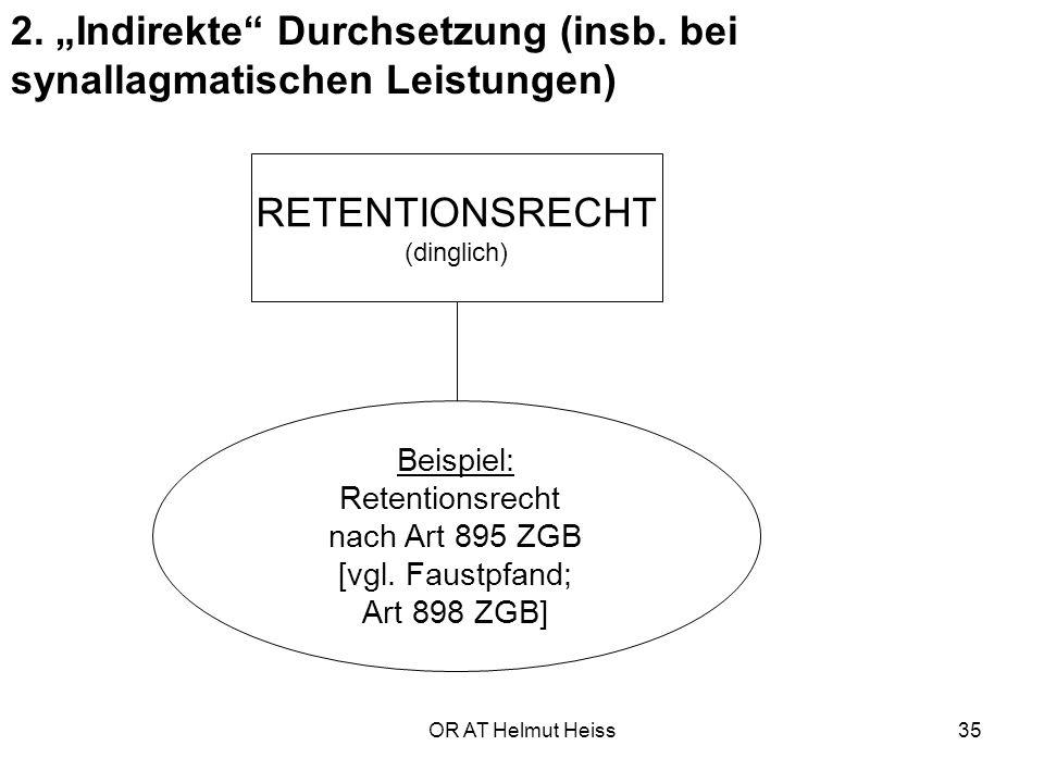 """2. """"Indirekte Durchsetzung (insb. bei synallagmatischen Leistungen)"""