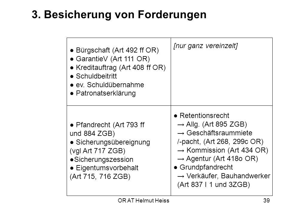 ● Bürgschaft (Art 492 ff OR) ● GarantieV (Art 111 OR)