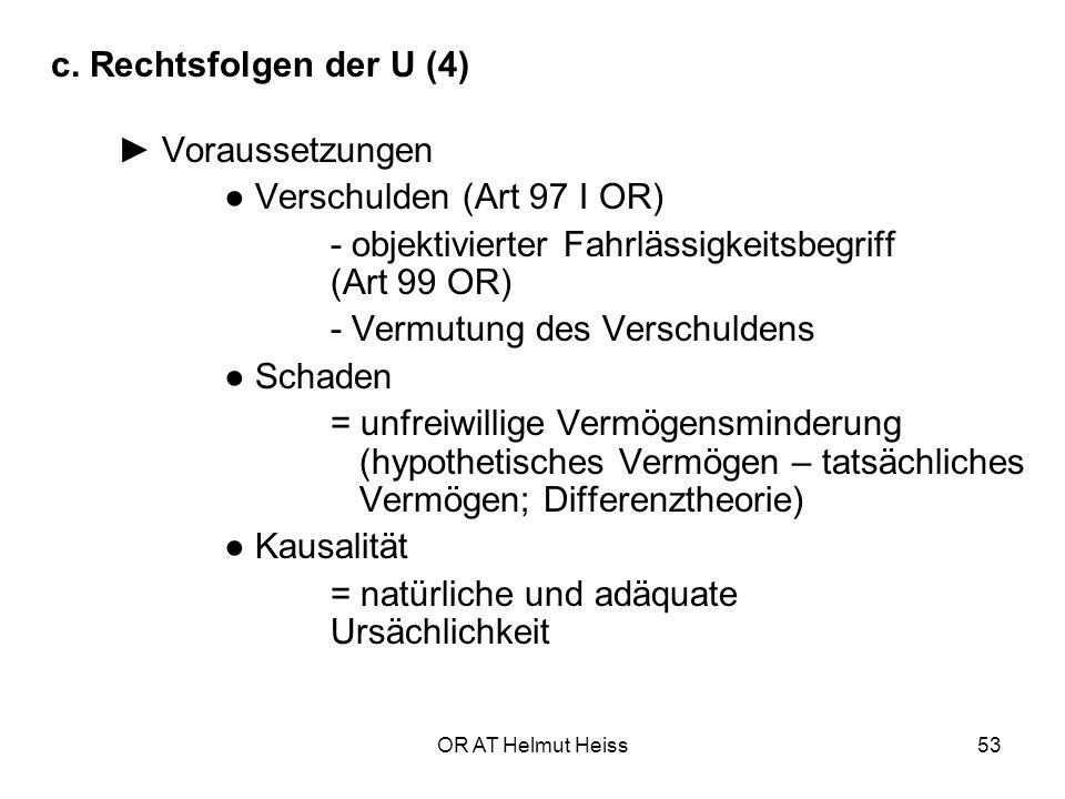 ● Verschulden (Art 97 I OR)